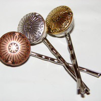 Set of three lovely bobby pins bronze tone by LizziesBowtique1