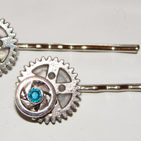 Set of two metal steampunk bobby pins with by LizziesBowtique1