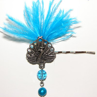 Brilliant Blue Peacock Bobby Pin/Hair jewelry by LizziesBowtique1
