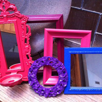 Frame and Mirror Collage, Ornate Bright and Chic Frame Set, Gallery Wall Frames, Upcycled Home Decor, Funky Vintage,