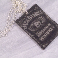 Jack Daniels Shrinky Dink Charm Pendant on Silver by LizsWares