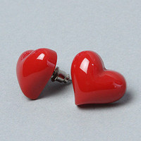 The Heart Resin Earring in Red