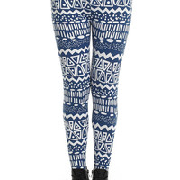 "ROMWE | ""Geometric Pattern"" Blue Leggings, The Latest Street Fashion"
