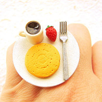 Miniature Food Ring Coffee Pancake Cute Food Jewelry