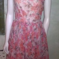 1950s Vintage Dress Floral Sheer Chiffon Party by L&#x27;aiglon