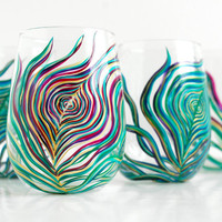 Regal Peacock Stemless Wine Glasses4 Piece by MaryElizabethArts