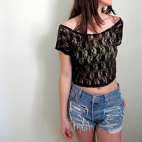 Black Lace Crop Top Cropped Blouse Womens See Through Thru Floral Print Low Scoop Back
