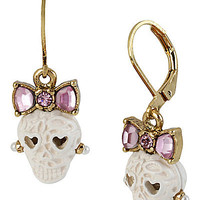 BetseyJohnson.com - LACE SKULL DROP EARRING WHITE
