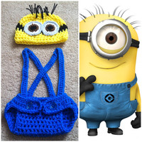 Crochet Despicable Me Minion Outfit (beanie/hat, diaper cover and suspenders)