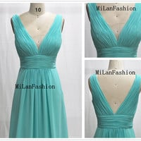 A Line Deep V-neck Light green Strapless Long Chiffon Prom Dress, Evening Gown, Homecoming Dresses, Evening Dresses, Party Dresses