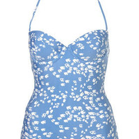 Blue Bird Print One Piece - Swimwear - Apparel - Topshop USA