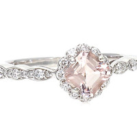 Palladium Asscher Morganite Engagement Ring White Sapphire Halo Custom Bridal Jewelry