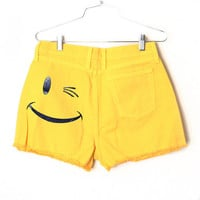 Smile Frayed Denim Shorts (Sizes 2-4-6-8-10 Available)