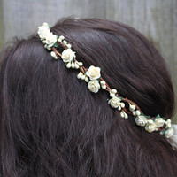 Bridal Flower Crown - Ivory Rose Floral Hair Wreath, Weddings, Flower Tiara, Halo, Circlet, Flower girl Hair Wreath, Spring Wedding