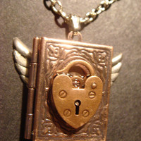 Steampunk Copper Locket Necklace with Heart by CreepyCreationz