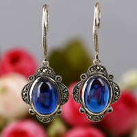 Vintage Style Blue Corundum 925 Sterling Silver Oval Shape Earrings