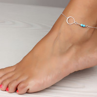 Infinity anklet turquoise anklet infinity ankle door DeniasTreasures