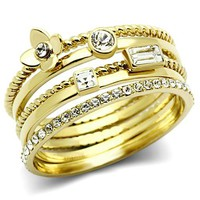 Ion Gold Plated Crystal Ring - 06600