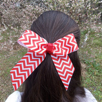 Girls Chevron Hair Bow, Red and White,  Single bow
