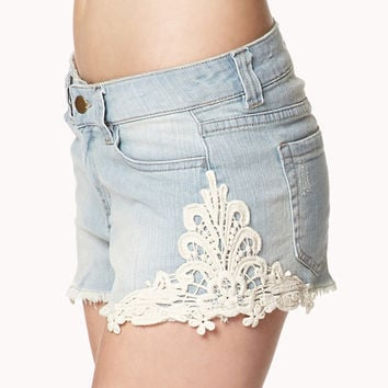 Picnic Perfect Crochet Denim Cut Offs