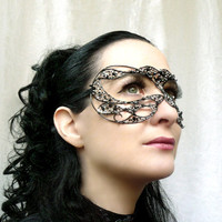 Black and silver masquerade mask handmade by gringrimaceandsqueak