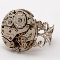 Steampunk Filigree Cocktail Watch Movement Ring by qacreate