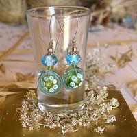 Long Glass Earrings, Handmade Lampwork  Earrings, Dangling Earrings, Birthaday Gift