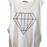 Wildfox Big Diamond Cut Off Tank in White