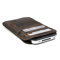 RETROMODERN aged leather iPhone 4 pocket - - DARK BROWN