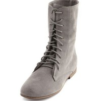 Sueded Lace-Up Slouchy Boot: Charlotte Russe