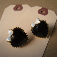 Heart Earring Studs Mini Bow by Bitsofbling on Etsy