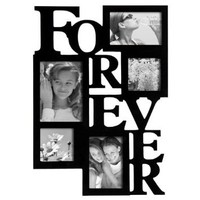 "ADECO PF0001-B 5-Opening Black Wooden Wall Hanging Collage Photo Picture Frames - Holds 4x4 4x6 5x7 Inch Photos,Saying ""FOREVER"",Home Decor Wall Art,Best Gift: Home & Kitchen"