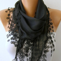 Black Scarf  - Cotton  Scarf - Headband Necklace Cowl with Lace Edge   -/76576127