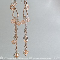 Long peach crystal dangle earrings, chain and copper wire swirl. 1195 | MartieRocco - Jewelry on ArtFire