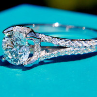 PLATINUM - Diamond Engagement Ring Semi Mount Setting - .50 carat  Round - Split Shank-  Halo - Pave - Antique Style