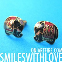 SALE - Small Elephant Tribal Stud Earrings in Black on Gold