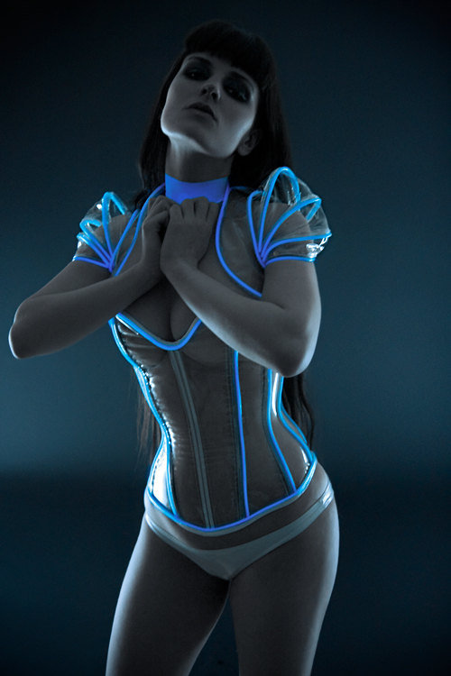 Clear PVC with luminescent icy blue glowing by ArtificeClothing