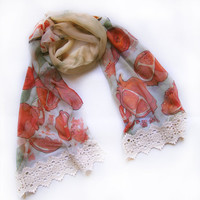Hand painted silk chiffon scarf Fruits pomegranates by klaradar