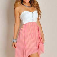 Cute White Lace and Pink Pins High Low Dress
