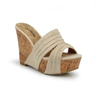 Amazon.com: Slide Platform Cork Wedge Sandal Light Beige: Shoes