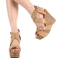 Amazon.com: Womens Beige Wedges Platforms Dress Shoes Sandals: Shoes