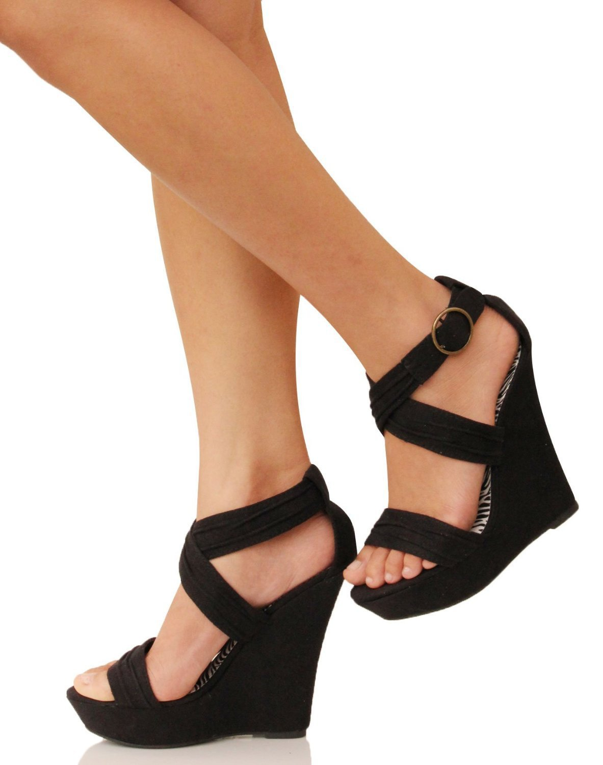 Amazon.com: Strappy Platform Wedges Heel Sandal Garzon Fuchsia Black: Shoes