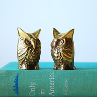 Vintage Brass Owl Pair- Small Statues Instant Collection