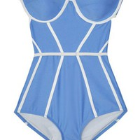 Chromat Ice Blue & White Bustier Suit