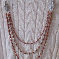 Red Sponge Coral and Tibetan Silver Beaded 3 Strand Necklace