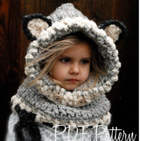 Crochet PATTERN-The Woodlynn Wolf Cowl (Toddler, Child, Adult sizes)