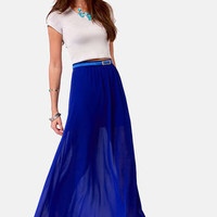 Floor de Lis Royal Blue Maxi Skirt