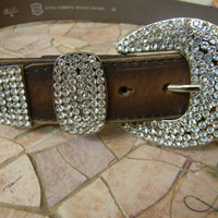 Brown Leather Rhinestone Belt With Rhinestone Belt Buckle Distressed