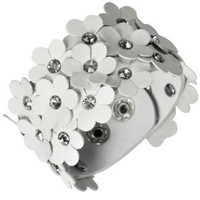 Triple Layers Flowers White PU Leather Cubic Zirconia Fashion Snap Cuff Bracelet 7""