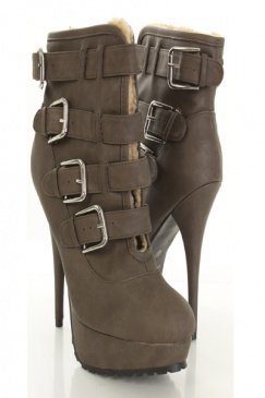 Taupe Faux Leather Buckle Strapped Slit Front Ankle Booties